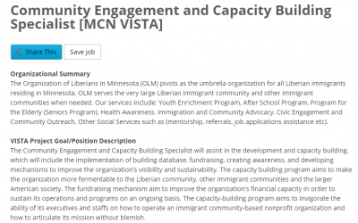 Job Posting: Community Engagement and Capacity Building Specialist